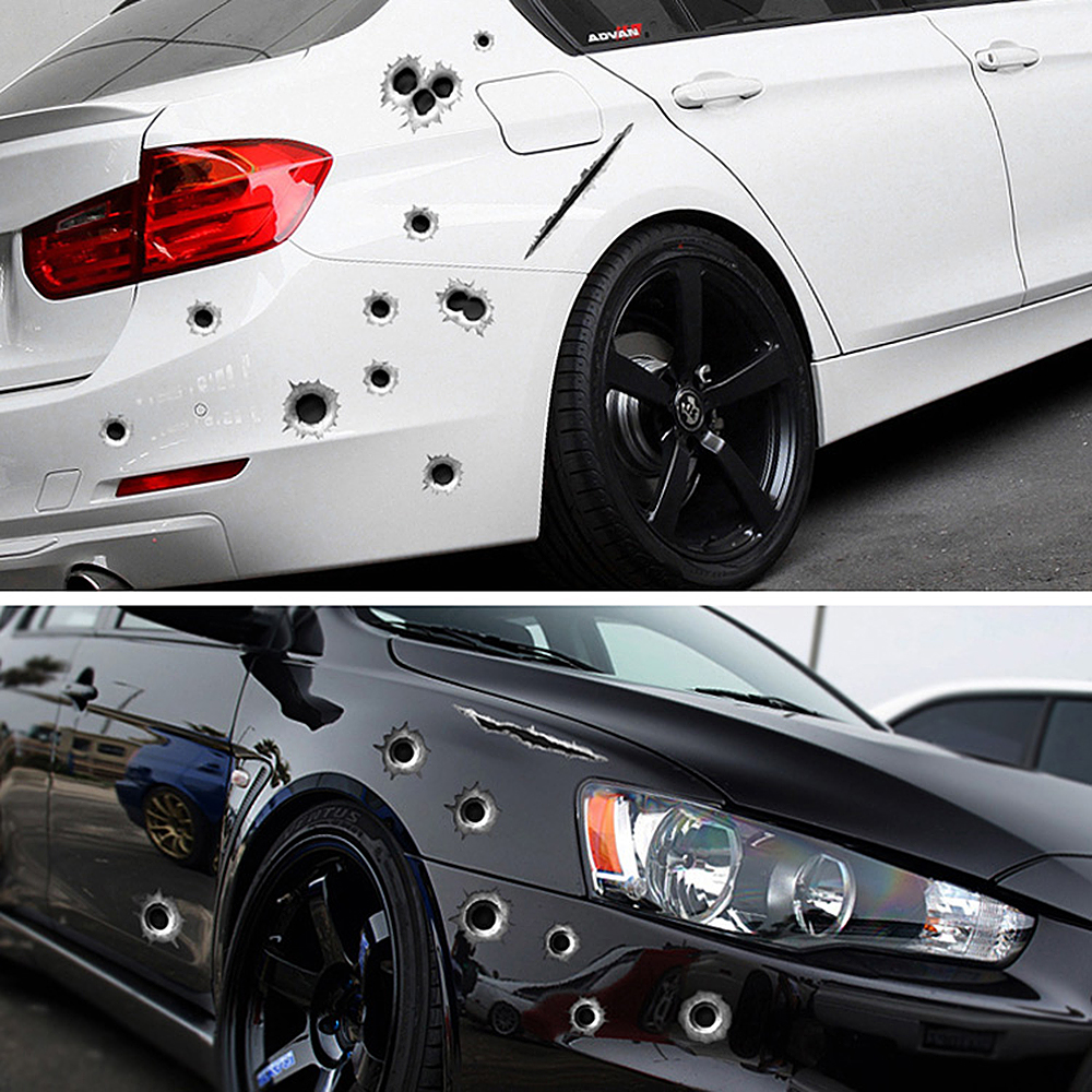 Speedwow 1pcs car stickers 3d bullet hole funny decal car covers motorcycle scratch realistic bullet hole waterproof stickers upgrade your car online